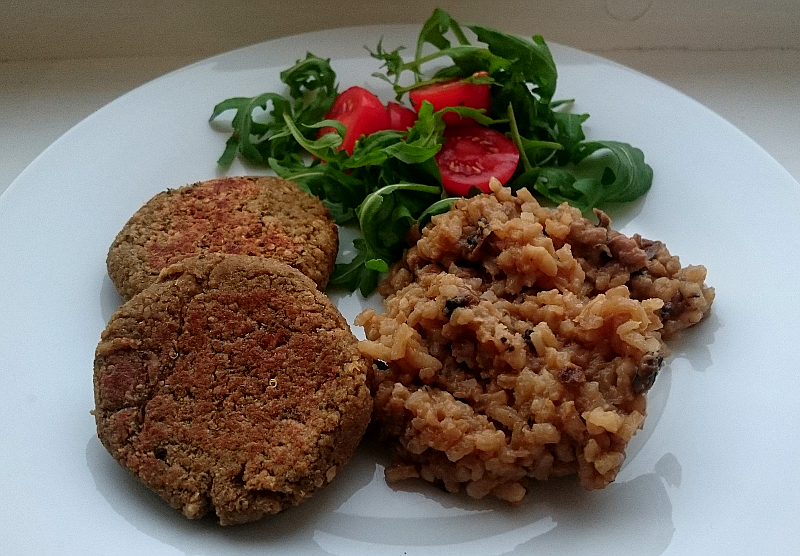 Burgers served with mushroom risotto and salad. Photo: Mittens and Sunglasses © 2018