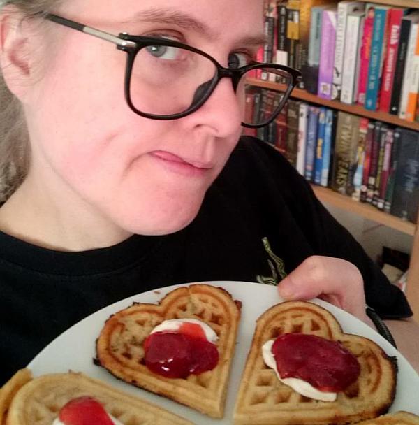One happy Norwegian with waffles.