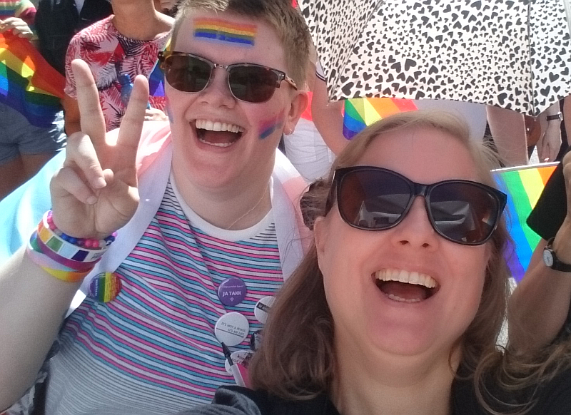 My frienfd and I in the parade. Photo: Mittens and Sunglasses © 2018